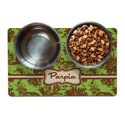 Green & Brown Toile Pet Bowl Mat (Personalized)