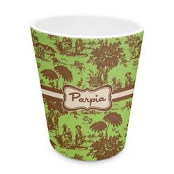 Green & Brown Toile Plastic Tumbler 6oz (Personalized)