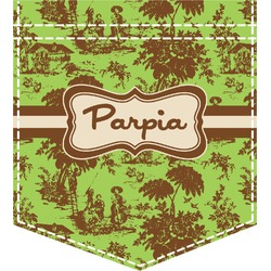 Green & Brown Toile Iron On Faux Pocket (Personalized)