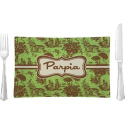 Green & Brown Toile Rectangular Glass Lunch / Dinner Plate - Single or Set (Personalized)