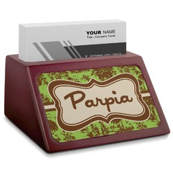 Green & Brown Toile Red Mahogany Business Card Holder (Personalized)