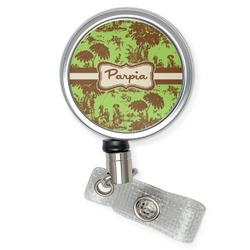 Green & Brown Toile Retractable Badge Reel (Personalized)