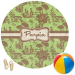 Green & Brown Toile Round Beach Towel (Personalized)