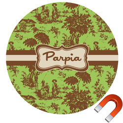 Green & Brown Toile Round Car Magnet (Personalized)