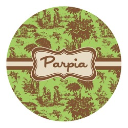 Green & Brown Toile Round Decal - Small (Personalized)