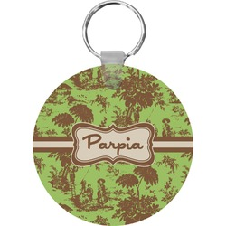 Green & Brown Toile Keychains - FRP (Personalized)