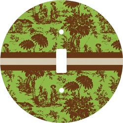 Green & Brown Toile Round Light Switch Cover (Personalized)