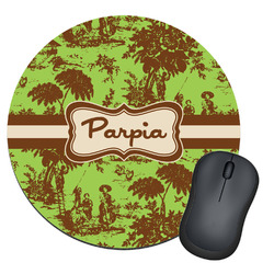 Green & Brown Toile Round Mouse Pad (Personalized)