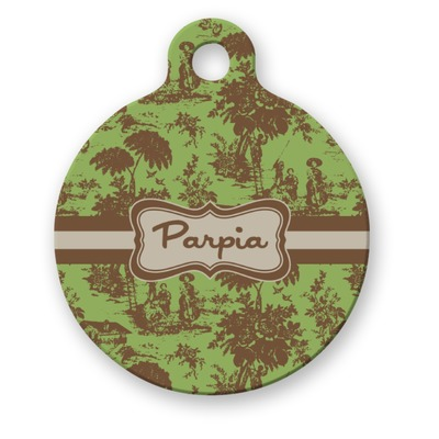 Green & Brown Toile Round Pet ID Tag (Personalized)