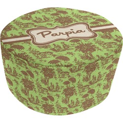 Green & Brown Toile Round Pouf Ottoman (Personalized)