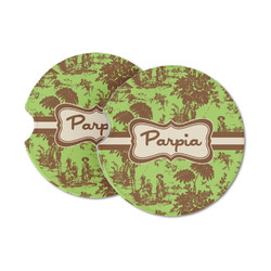 Green & Brown Toile Sandstone Car Coasters (Personalized)