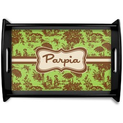Green & Brown Toile Black Wooden Tray (Personalized)