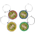 Green & Brown Toile Wine Charms (Set of 4) (Personalized)