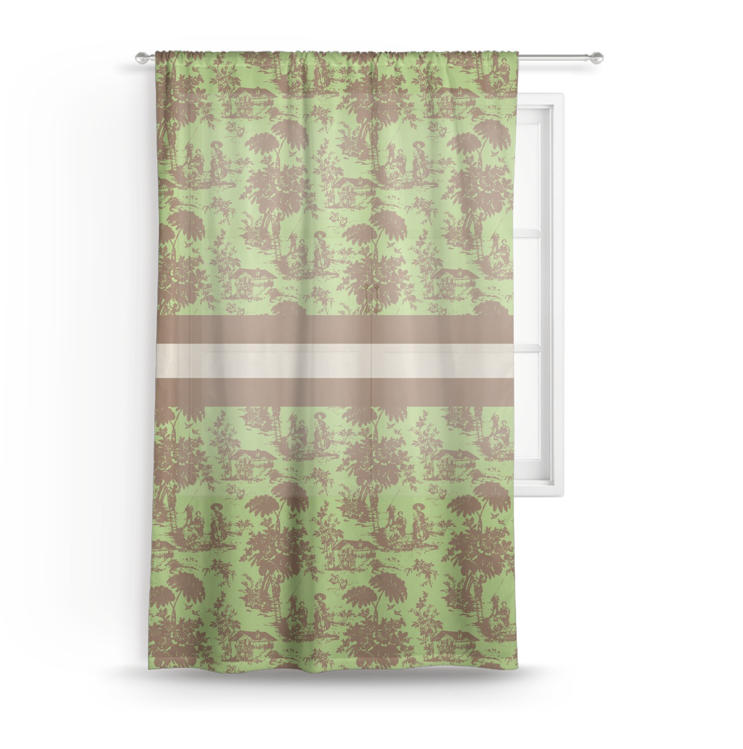 Green Brown Toile Sheer Curtains Personalized Youcustomizeit