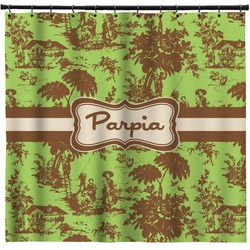 Green & Brown Toile Shower Curtain (Personalized)