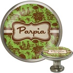 Green & Brown Toile Cabinet Knob (Silver) (Personalized)