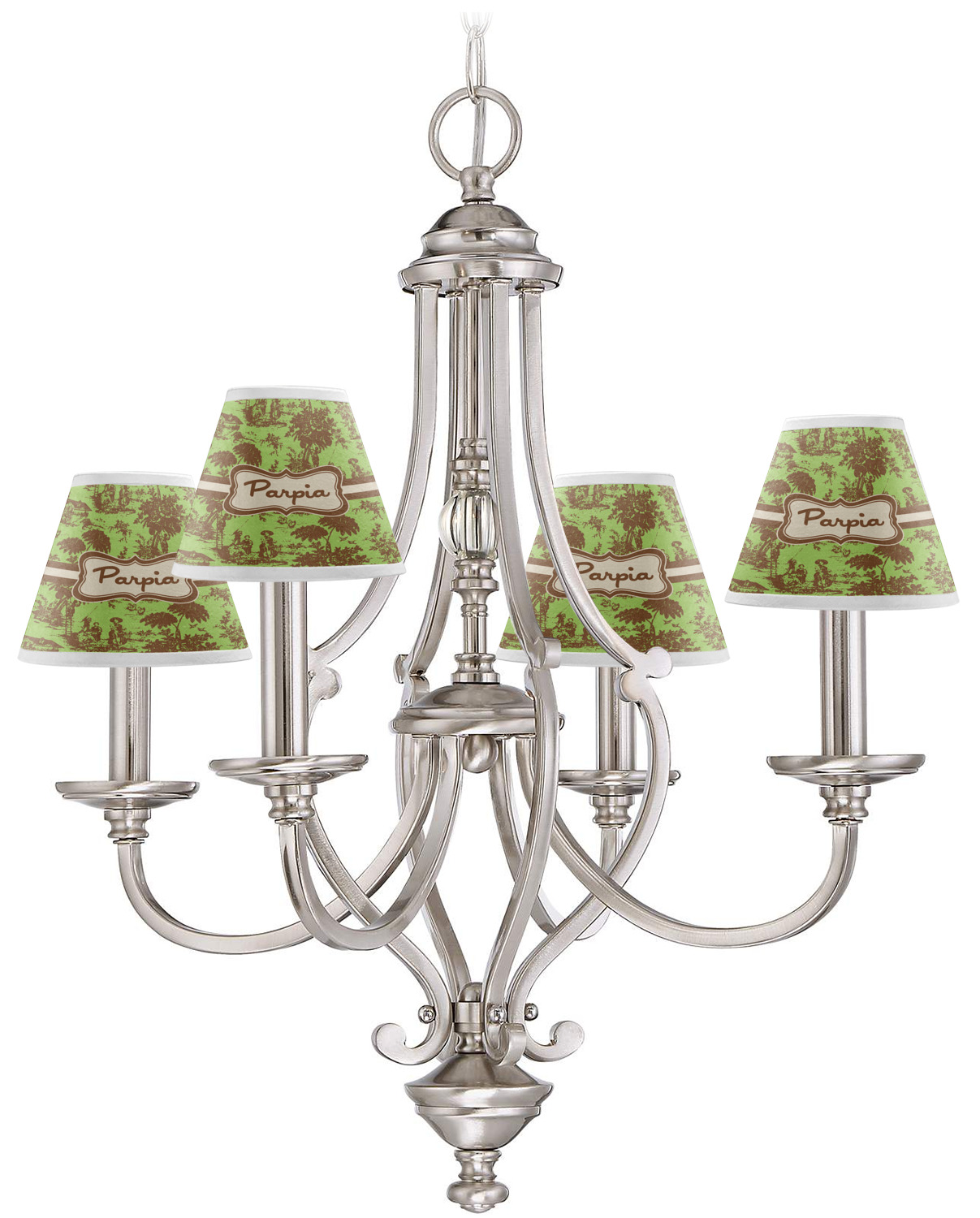 Green & Brown Toile Chandelier Lamp Shade (Personalized ...