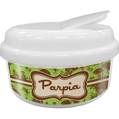 Green & Brown Toile Snack Container (Personalized)