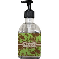 Green & Brown Toile Soap/Lotion Dispenser (Glass) (Personalized)