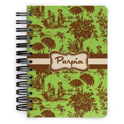 Green & Brown Toile Spiral Bound Notebook - 5x7 (Personalized)