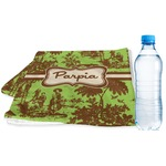 Green & Brown Toile Sports & Fitness Towel (Personalized)