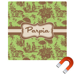 Green & Brown Toile Square Car Magnet (Personalized)