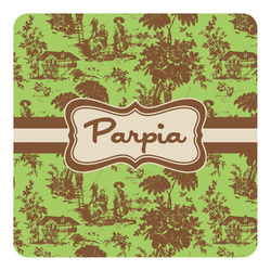 Green & Brown Toile Square Decal - Custom Size (Personalized)