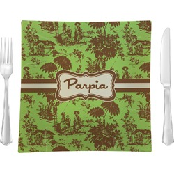 Green & Brown Toile Square Dinner Plate (Personalized)