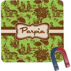 Green & Brown Toile Square Fridge Magnet (Personalized)