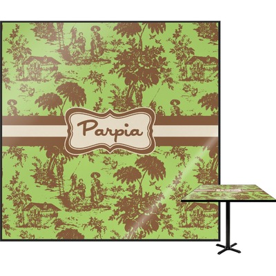 Green & Brown Toile Square Table Top (Personalized)