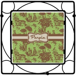 Green & Brown Toile Square Trivet (Personalized)