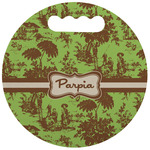 Green & Brown Toile Stadium Cushion (Round) (Personalized)