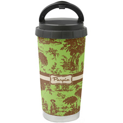 Green & Brown Toile Stainless Steel Coffee Tumbler (Personalized)