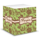 Green & Brown Toile Sticky Note Cube (Personalized)