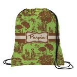 Green & Brown Toile Drawstring Backpack (Personalized)