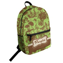 Green & Brown Toile Student Backpack (Personalized)