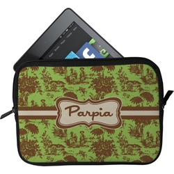 Green & Brown Toile Tablet Case / Sleeve (Personalized)