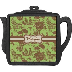 Green & Brown Toile Teapot Trivet (Personalized)