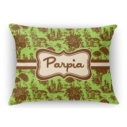 Green & Brown Toile Rectangular Throw Pillow Case (Personalized)