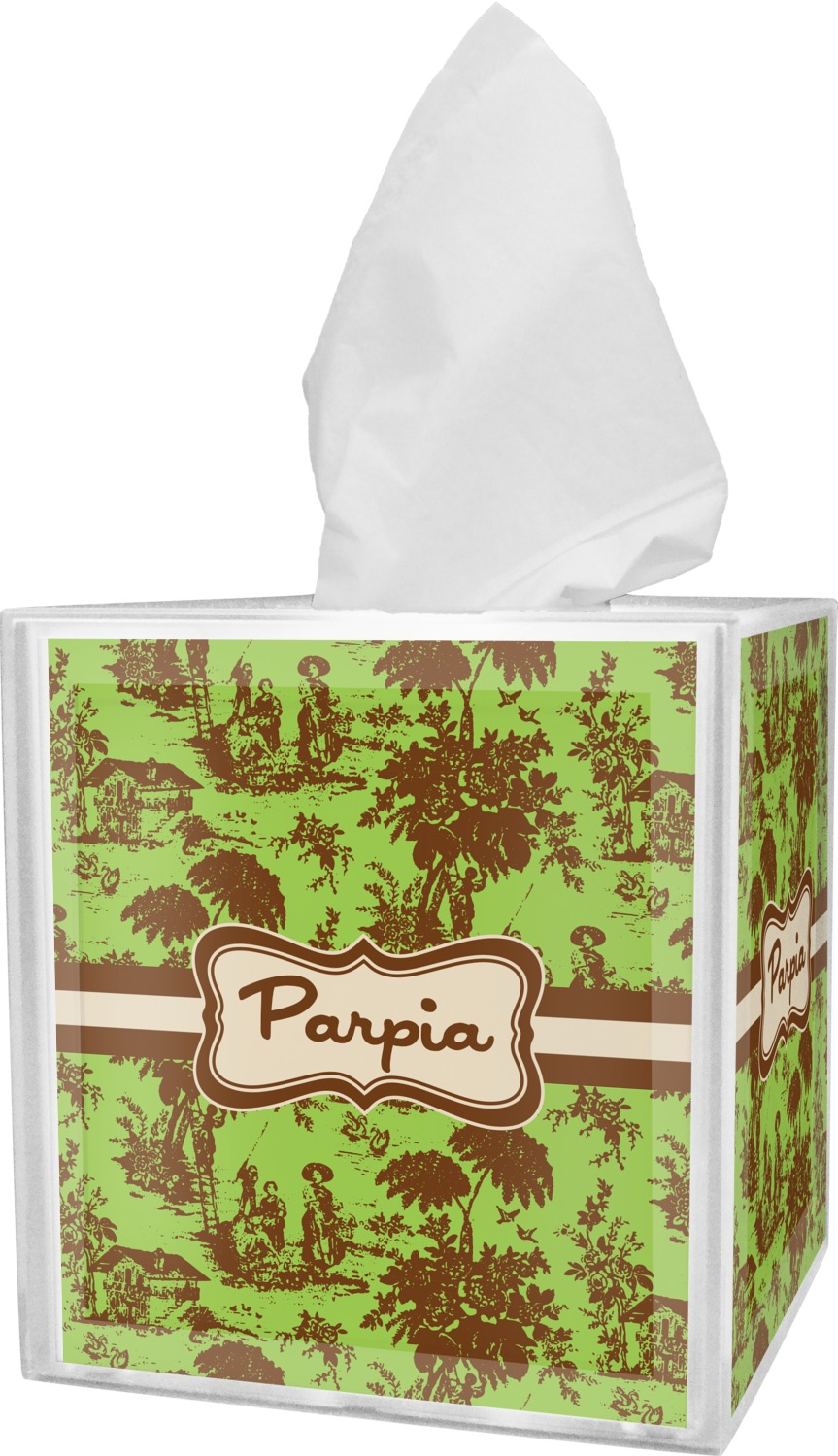 Green Brown Toile Tissue Box Cover Personalized