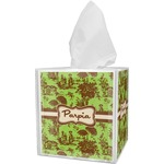 Green & Brown Toile Tissue Box Cover (Personalized)