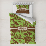 Green & Brown Toile Toddler Bedding w/ Name or Text