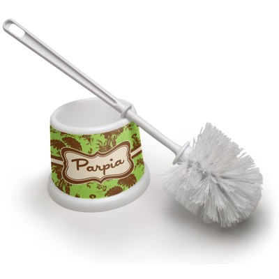 Green & Brown Toile Toilet Brush (Personalized)