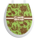 Green & Brown Toile Toilet Seat Decal (Personalized)