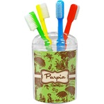 Green & Brown Toile Toothbrush Holder (Personalized)