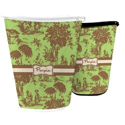 Green & Brown Toile Waste Basket (Personalized)
