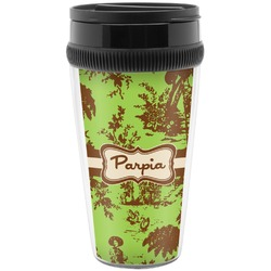 Green & Brown Toile Travel Mugs (Personalized)