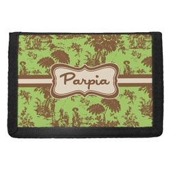Green & Brown Toile Trifold Wallet (Personalized)