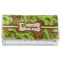 Green & Brown Toile Vinyl Checkbook Cover (Personalized)