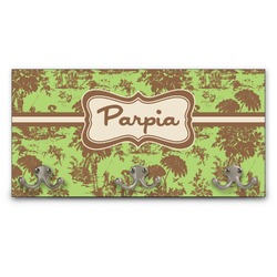 Green & Brown Toile Wall Mounted Coat Rack (Personalized)